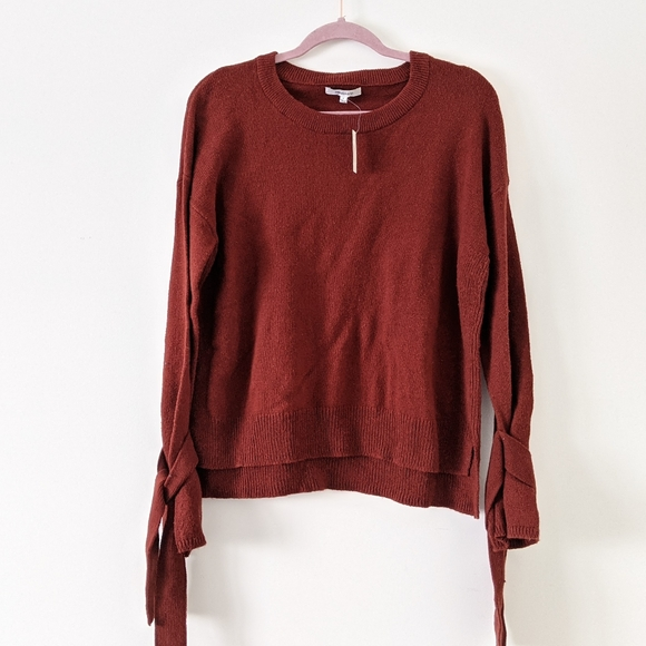 Madewell Tie Cuff Pullover Sweater Red Size Small